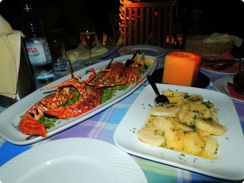 Lobster, typical Croatian potatoes (boiled then drizzled with olive oil and herbs) and swiss chard - not pictured: dinner at Villa Kaliopa in Vis