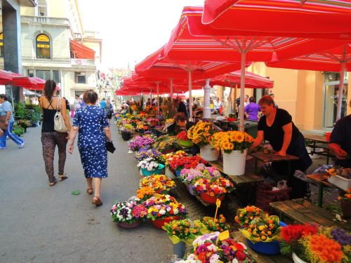 Flower vendors leading up to the main area of Dolac Market