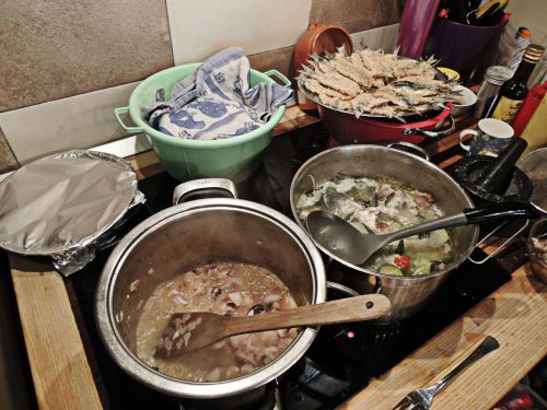 We got all this going on and more...risotto, fish stock, fried sardines and bread rising