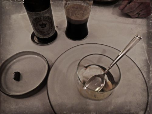 SPECIAL REQUEST At the beginning of the meal I asked for a dessert course that would pair well with a stout. I don't recall the ingredients but remember it was a winning combo!