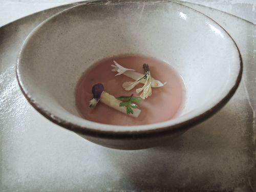 Asparagus Custard with Caviar & Rhubarb