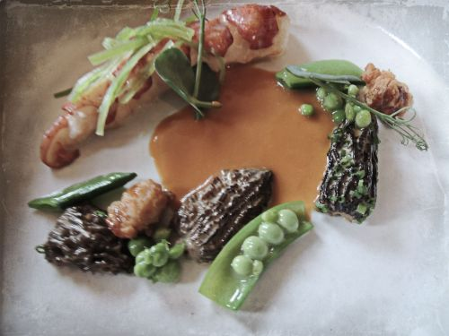 Lobster Poached with Snap Peas, Morels, & Sweetbreads (my favorite course)