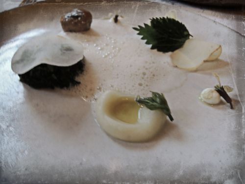Nettles Creamed with Fingerling Potato and Goat Cheese