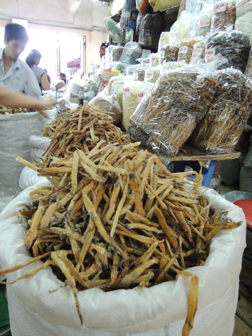 Sa sung; dried sea worms for pho from Dong Xuan market. They add a wonderful savory sweetness to the broth...all natural umami!