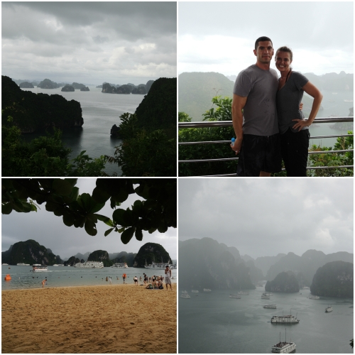 As part of the cruise, the ship stops at several places to give you an option of hiking, kayaking, swimming or visiting a cave.  Here we are at Dao Ti Top.  We were able to climb to the highest for a scenic overlook and then hang out on the beach to relax.  It rained when we were climbing but cleared up just as we were heading to the beach.
