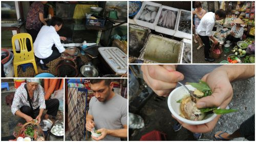 At Dong Xuan market shopping for ingredients we needed for the class.  Chef Tien steers us towards a lady selling balut and encouraged us to try it.  Jonathan takes him up on the offer and is quite surprised that it was better than his last balut experience...